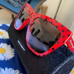Dolce & Gabbana Square Red Polka Dot Sunglasses
